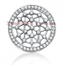 14K Gold Web Circle Diamond Pendant 1.10ct