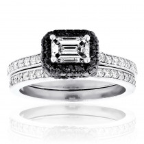 14K Gold White and Black Diamond Unique Engagement Ring Set Emerald Cut