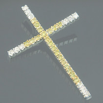 14K Gold White and Yellow Diamond Cross Pendant 0.72ct