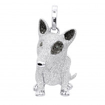 14K Gold White Black Diamond Mini Bull Terrier Dog Pendant 3.85ct