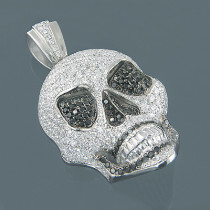 14K Gold White Black Diamond Skull Pendant 7.80ct