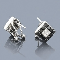 14k Gold White Black Diamonds Stud Earrings 1.45ct