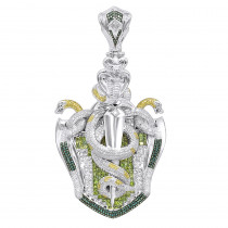 14K Gold White Blue Green Yellow Diamond Sword & Snakes Mens Pendant 18ct