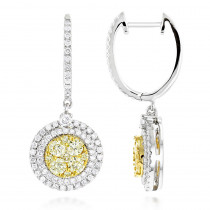 14K Gold White Yellow Diamond Circle Earrings Hoop Dangles by Luxurman 2ct