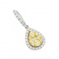 14K Gold White Yellow Diamond Ladies Drop Pendant 0.85ct by Luxurman