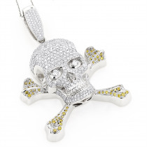 14K Gold White Yellow Diamond Skull Pendant 10.62ct