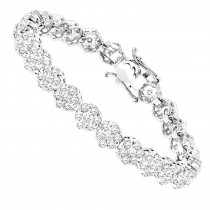 14K Gold Womens Diamond Cluster Tennis Bracelet 8.25ct