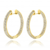 14K Gold Large Inside Out Diamond Hoop Earrings 6ct