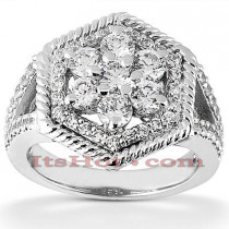 14K Ladies Cluster Diamond Ring 0.81ct