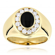 14K Gold Mens Diamond Black Onyx Ring 0.7ct