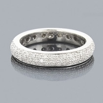 14K White Gold Pave Diamond Eternity Band for Women 1.25ct