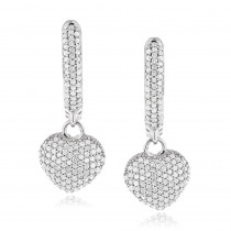 14K Gold Pave Diamond Heart Earrings for Women 0.76ct
