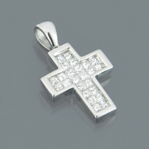 14K Princess Cut Diamond Cross Pendant 0.50ct