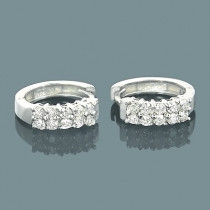 14K Round Diamond Huggie Earrings 0.66ct