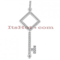 14K Round Diamond Key Pendant Necklace 0.33ct