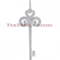 14K Round Diamond Key Pendant Necklace 0.43ct