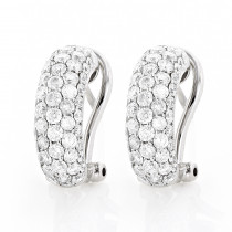 14K Gold Round Pave Diamond Hoop Earrings 1.87ct