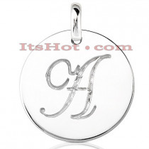 14K Solid Gold Circle Initial Pendant