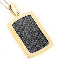 14K Solid Gold Dog Tag Pendant With Black Diamonds 3.25