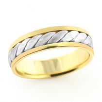 14K Solid Gold Woven Wedding Band for Men