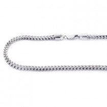 14K Solid White Gold Franco Chain 30-40in 3.5mm