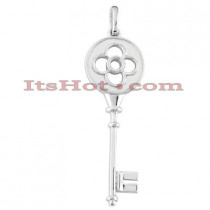 14K Solid White Gold Key Pendant Necklace