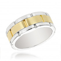 14K Two Tone Gold Mens Wedding Band Comfort Fit