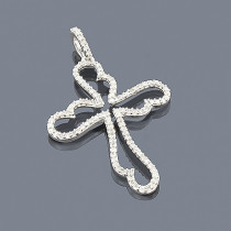 14K Unique Diamond Cross Pendant 0.32ct