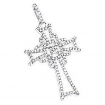 14K Gold Unique Diamond Cross Pendant for Women 0.25ct