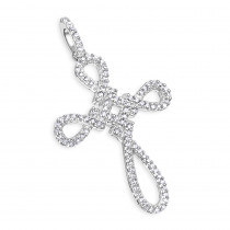 14K White Gold Cross Pendant 0.2 ct