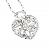 14K White Gold Diamond Heart Pendant Necklace 0.35ct