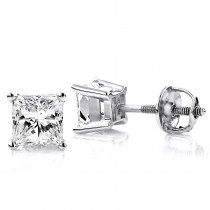 14K White Gold Diamond Stud Earrings Princess 1.50ct