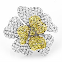14K White Yellow Diamond Flower Ring 5.73ct