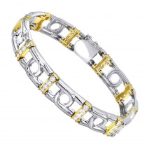 14K White Yellow Gold Mens Diamond Two-Tone Bracelet 4ct