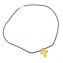 14K Yellow Gold Cross Rubber Necklace