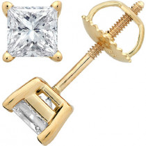 14K Yellow Gold Princess-Cut Diamond Stud Earrings 1.5c