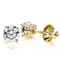 14K Yellow Gold Round Diamond Stud Earrings 0.25ct