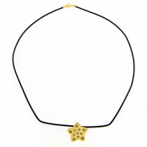 14K Yellow Gold Star Rubber Necklace