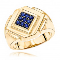 14K Yellow Rose or White Gold Sapphire Mens Ring by Luxurman 0.27ct