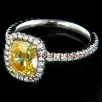1.51ct Yellow Cushion Diamond Engagement Ring Platinum