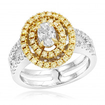 Unique 18K 2 Tone Gold Oval Diamond Engagement Ring White & Yellow Diamonds