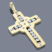 18K Floating Diamond Cross Pendant LUCCELLO Monaco 1.21
