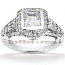 Halo 18K Gold Diamond Engagement Ring Mounting 1.02ct