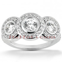 18K Gold Diamond Engagement Ring Mounting Set 1.28ct
