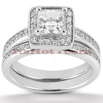 18K Gold Diamond Engagement Ring Set 1.22ct