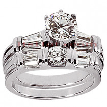 18K Gold Diamond Engagement Ring Set 1.80ct