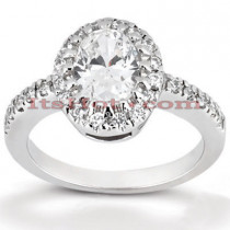 Halo 18K Gold Diamond Engagement Ring Setting 0.26ct