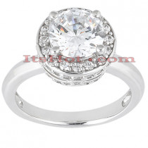 Halo 18K Gold Diamond Engagement Ring Setting 0.34ct