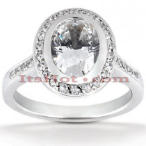 Halo 18K Gold Diamond Engagement Ring Setting 0.35ct