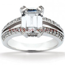 18K Gold Diamond Engagement Ring Setting 0.42ct